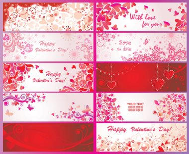 Set of valentines day banners clip art vector
