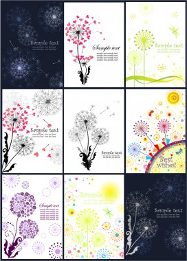 Abstract banners with dandelions