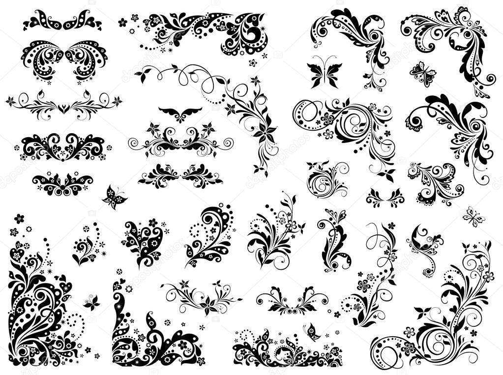 l ments de design vintage noir et blanc image vectorielle antonovaolena 31990835. Black Bedroom Furniture Sets. Home Design Ideas