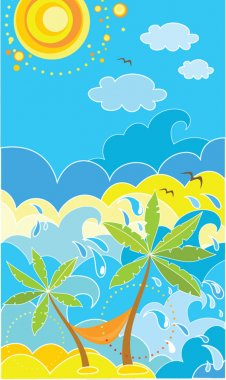 Summer holiday poster with palm