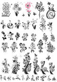 Photo Decorative floral design elements (black and white)