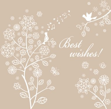 Beautiful pastel spring card with lacy tree