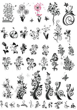 Decorative floral design elements (black and white)