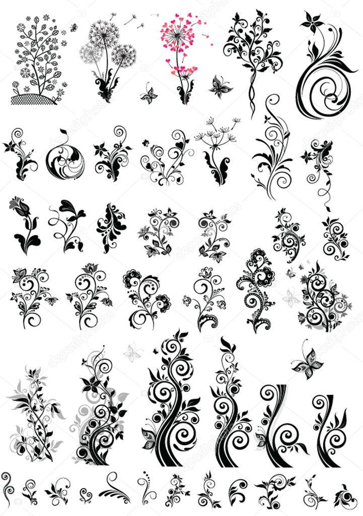 Decorative floral design elements (black and white)