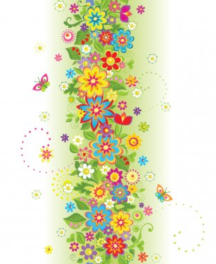 Seamless border with summer flowers