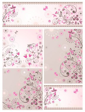 Set of greeting abstract floral cards stock vector