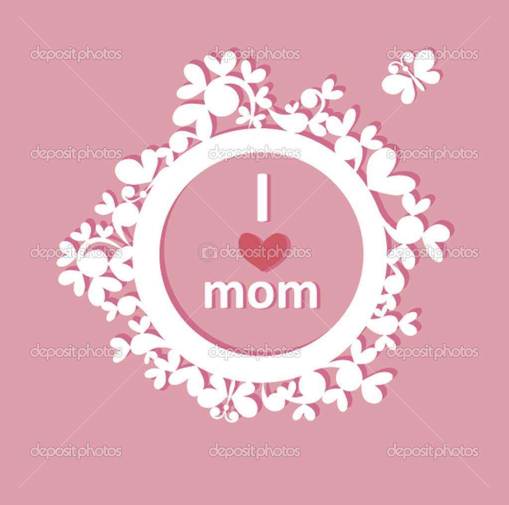 Beautiful Paper Frame With Greeting For Mom Stock Vector