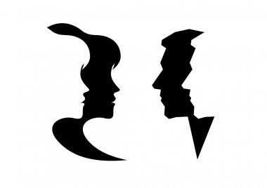 Abstract profile of a woman and man