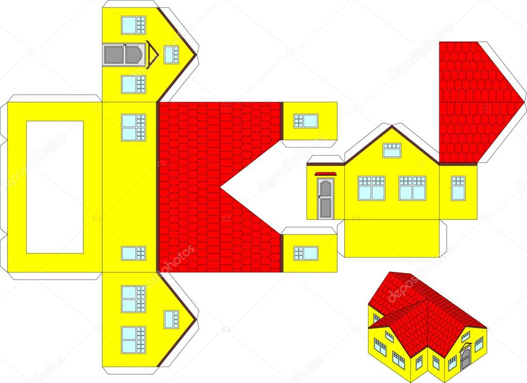 Printable Origami House Toy For Kids It Can Be Included In A Workbook Children Vector By Kvartur