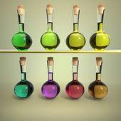 lahve s barevnou tekutinou