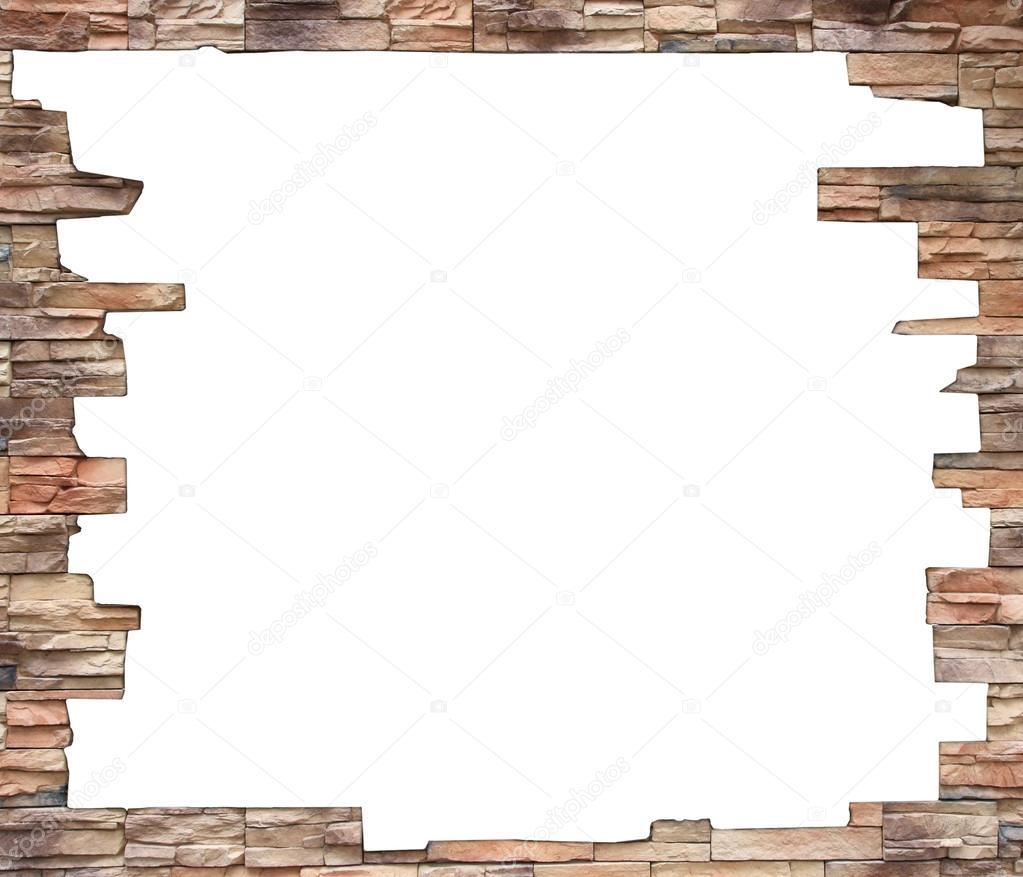 agujero blanco en la vieja pared, interior de ladrillo marco grunge ...