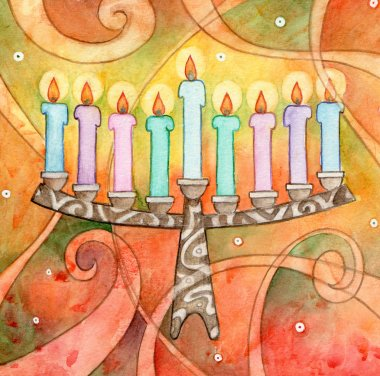 Whimsy watercolor illustration of a menorah. stock vector