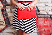 Photo Fashionable woman with red handbag in hands closeup