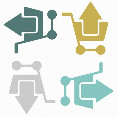 Seamless background: shopping, trolley, arrow