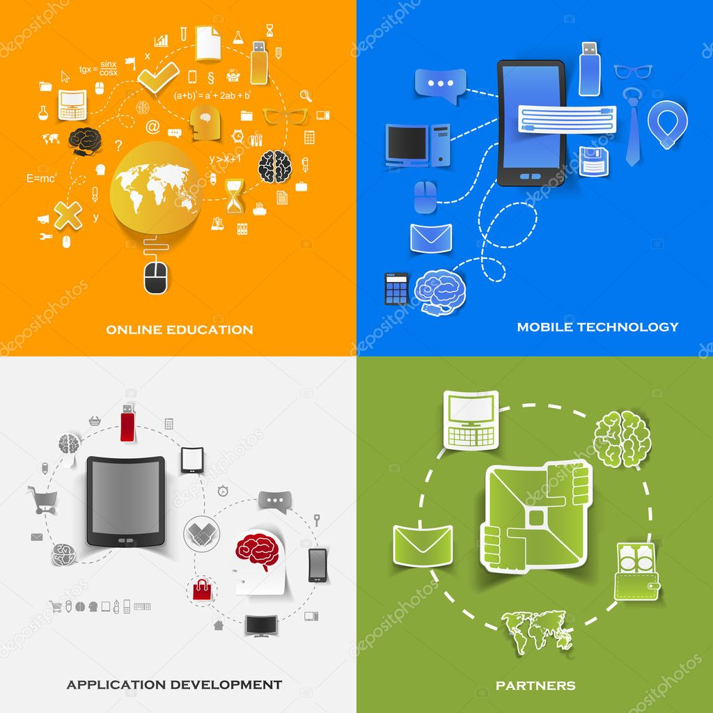 Set of modern stickers. Concept of online education, mobile technology, application development, partners. Vector eps10 illustration