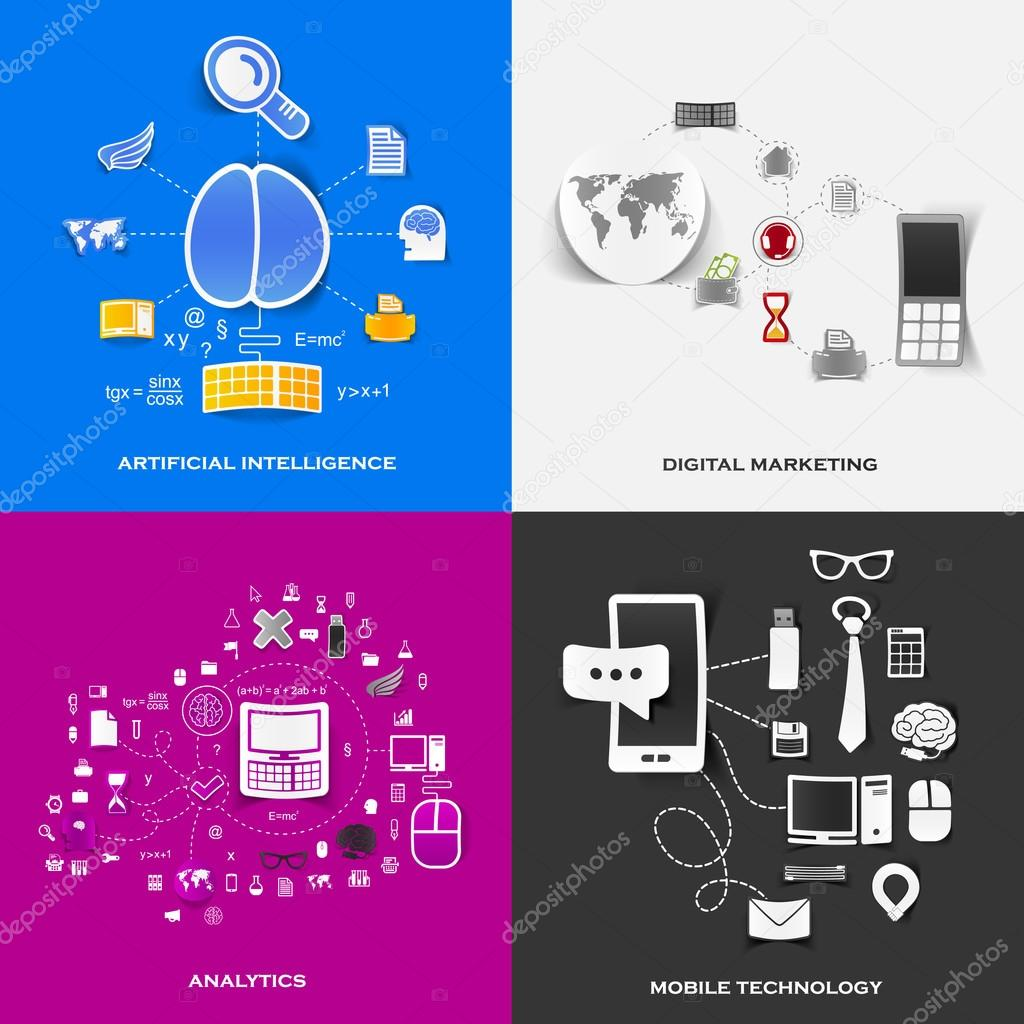 Set of modern stickers. Concept of artificial intelligence, digital marketing, analytics, mobile technology. Vector eps10 illustration