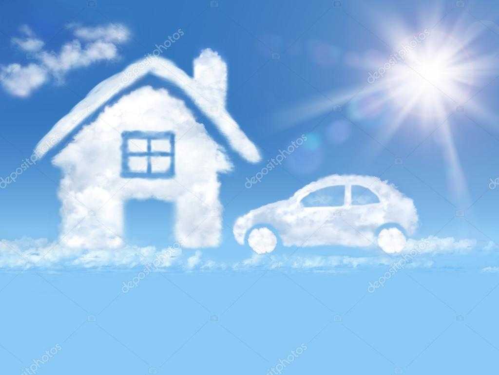 Cloud house and car in the blue sky and shining sun