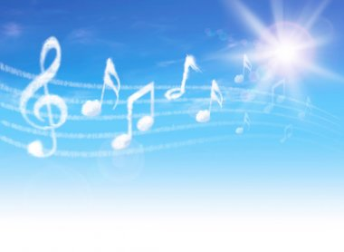 Clouds music notes on blue sky with clouds and sun. stock vector