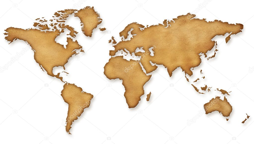 World Map Vintage sepia Illustration