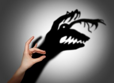 Fear, fright, shadow on the wall stock vector