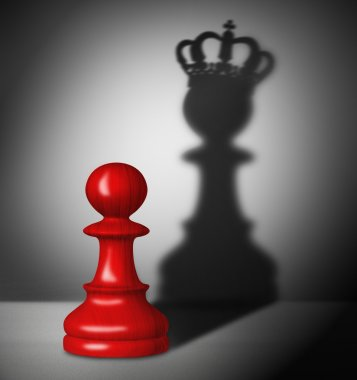 Chess pawn with the shadow of a king