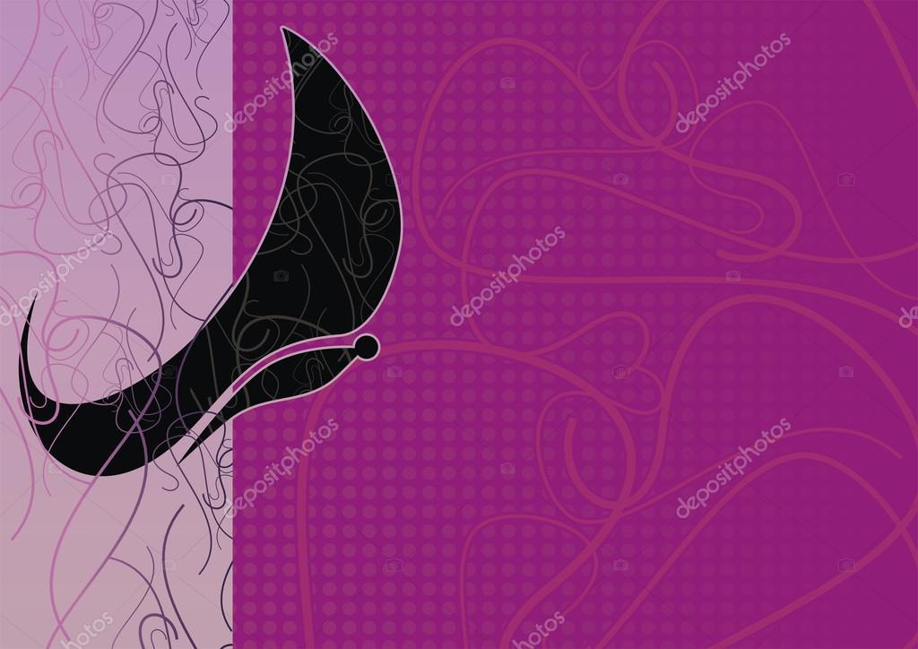black butterfly on a violet background