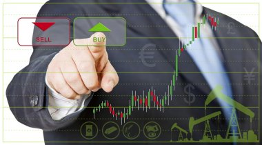 Businessman opens a long position by clicking on buy stock vector