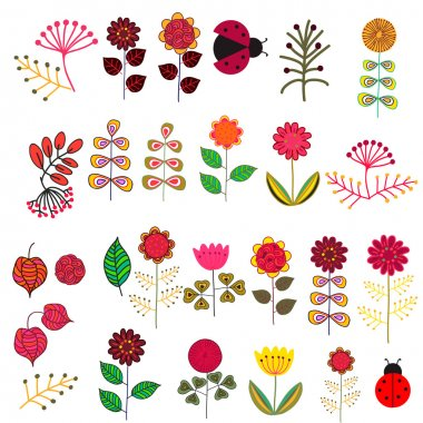 "Картина, постер, плакат, фотообои ""doodle flowers set"", артикул 33627037"