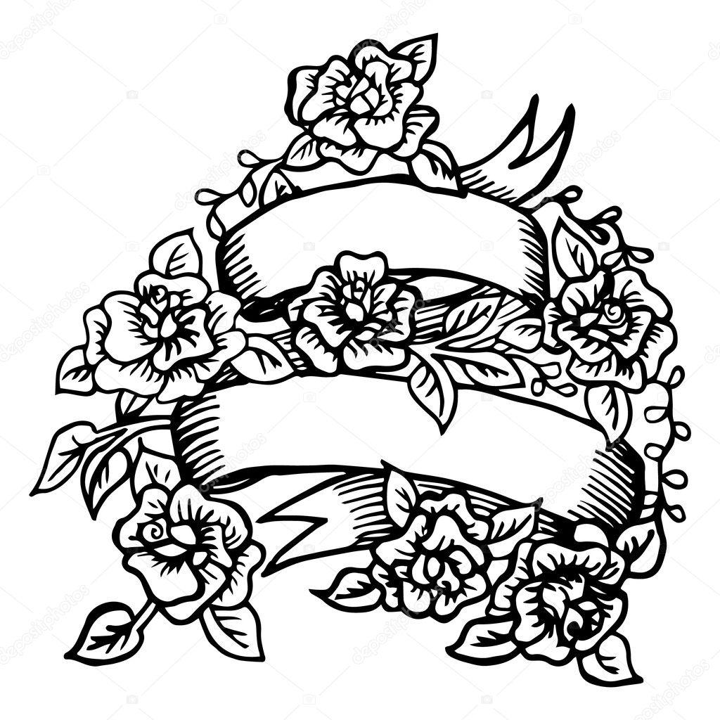 Hand-drawn ribbon with roses