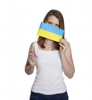 Woman with flag of Ukraine