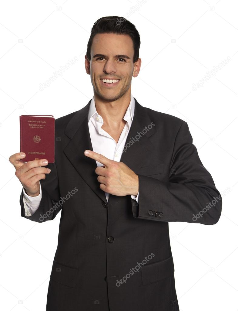 Man is holding passport in his hand