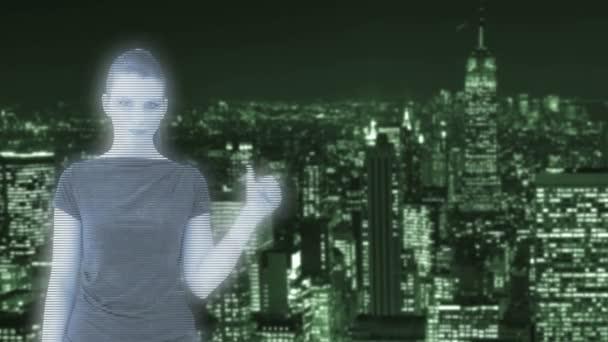 hologram ženy před new york