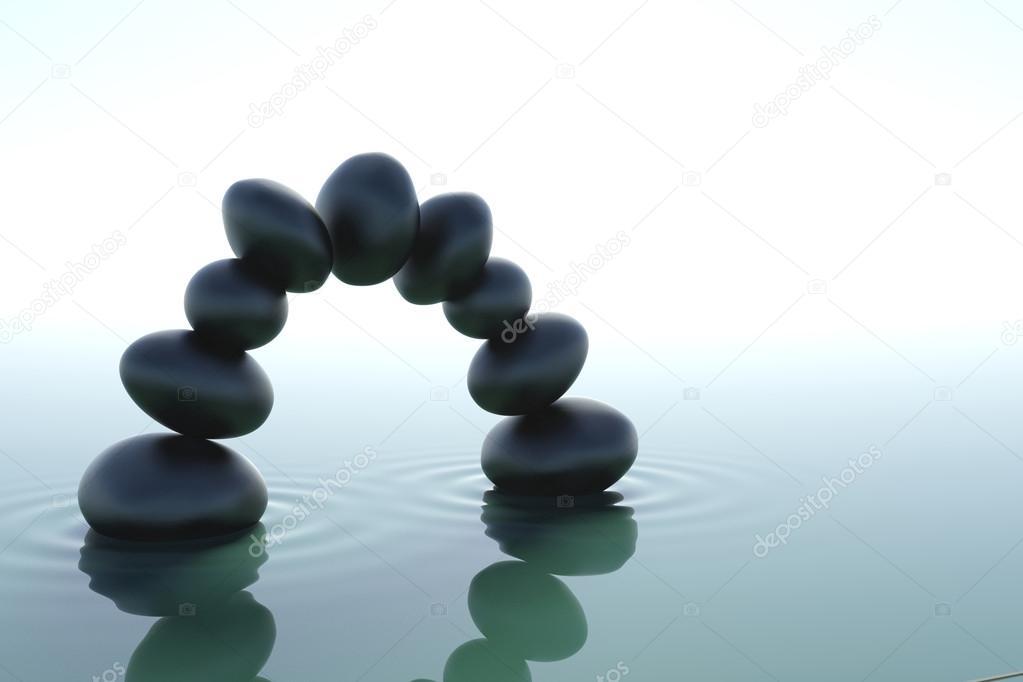 arco de piedras zen en agua zen sobre fondo blanco foto de dampoint - Piedras Zen
