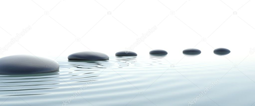 Zen path of stones in widescreen