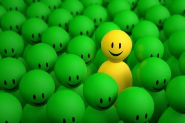 3d yellow man comes out from a green crowd