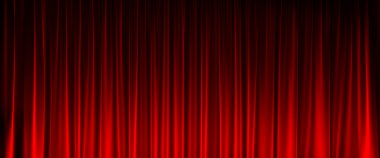 Red velvet curtain with light in front view stock vector