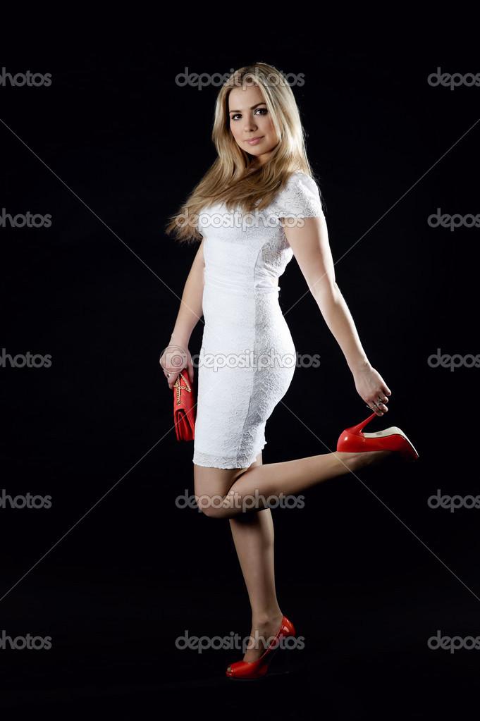 Vestidos blanco con rojo