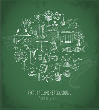 Card with sketch science objects on chalkboard. Physics and chemistry. Vector illustration. stock vector