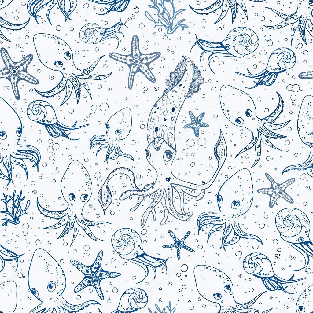 Fondo: pintar del mar | fondo con animales del mar — Vector de stock ...