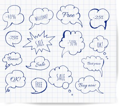 Set of hand-drawn ink speech and thought bubbles