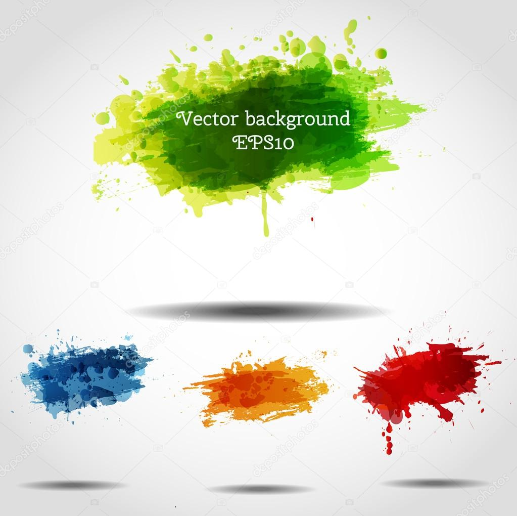 Set of bright grunge backgrounds in autumn colors.