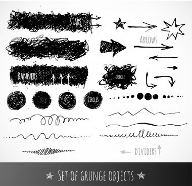 Set of ink grunge objects