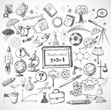 Back to school big doodles set.
