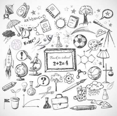 Back to school big doodles set.