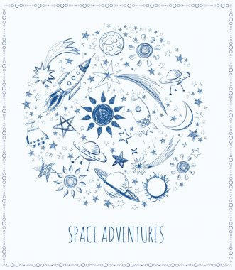 Card with sketchy space objects