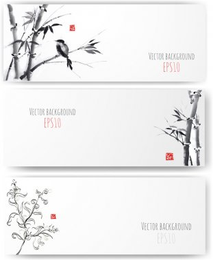 Banners with bamboo, willow and bird