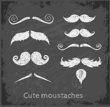 Set of hand-drawn moustaches