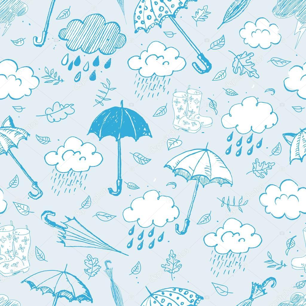 rain, clouds and umbrellas.