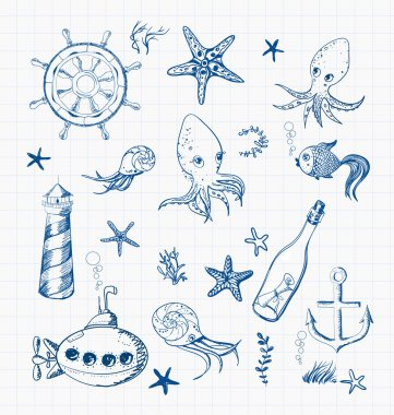 Set of marine sketch objects