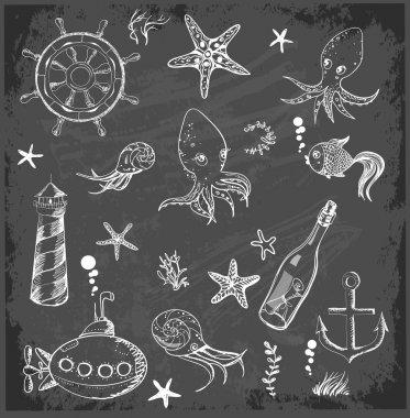 Set of marine sketch objects.